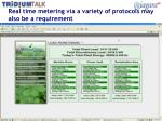 real time metering via a variety of protocols may also be a requirement