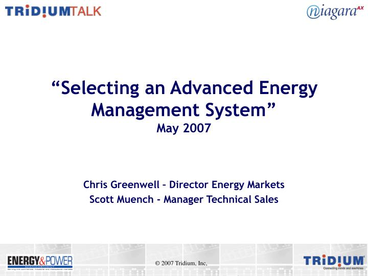 selecting an advanced energy management system may 2007 n.