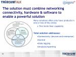 the solution must combine networking connectivity hardware software to enable a powerful solution