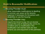 right to reasonable modifications