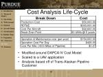 cost analysis life cycle