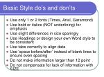 basic style do s and don ts