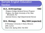 sample english education section