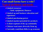 can small farms have a role typical problems and needs