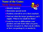 name of the game niche marketing