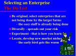 selecting an enterprise the do list