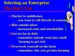 selecting an enterprise the don t list