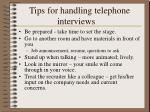 tips for handling telephone interviews