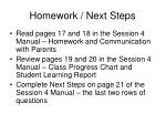 homework next steps