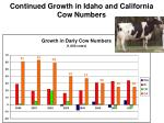 continued growth in idaho and california cow numbers