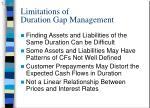 limitations of duration gap management
