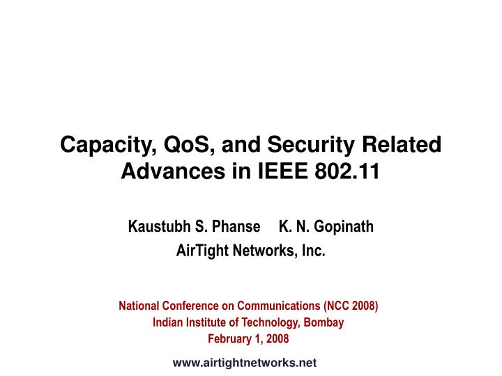 capacity qos and security related advances in ieee 802 11 n.