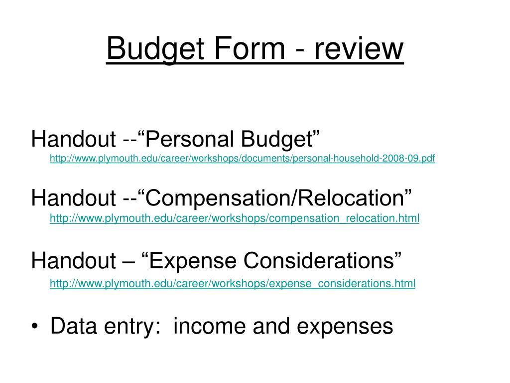 Budget Form - review