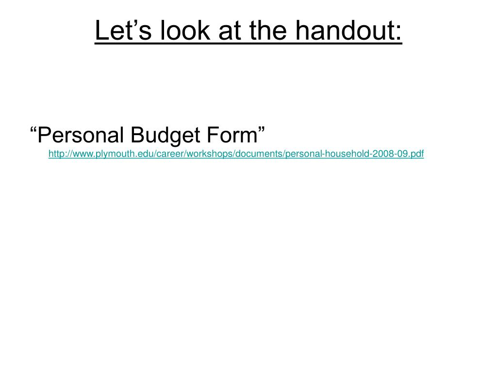 Let's look at the handout: