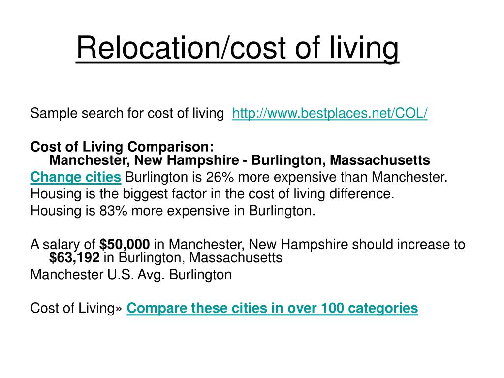 Relocation/cost of living