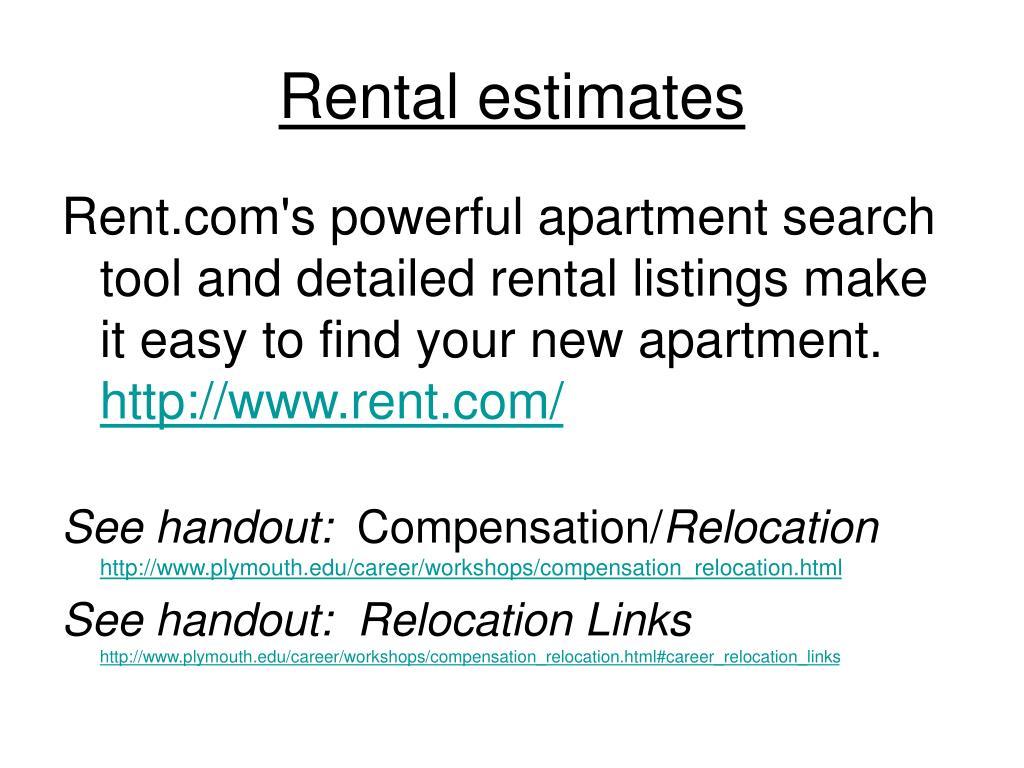 Rental estimates