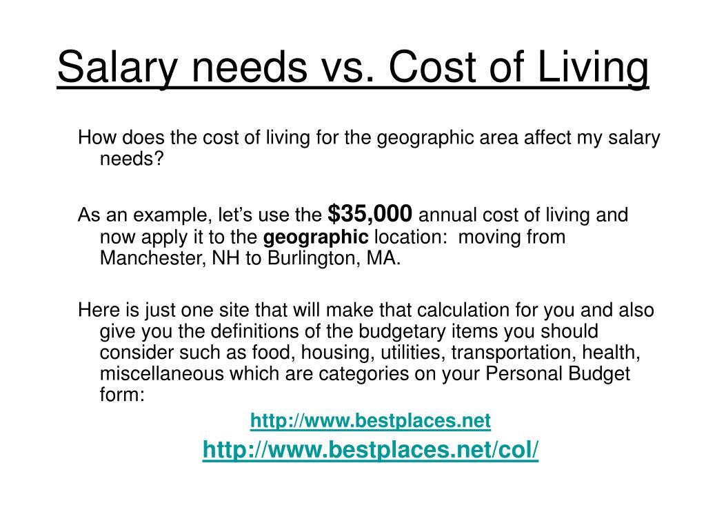 Salary needs vs. Cost of Living
