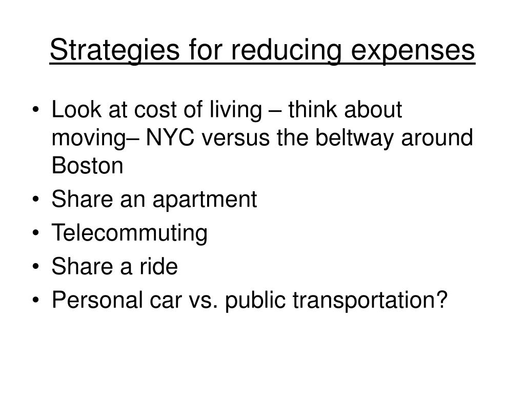 Strategies for reducing expenses