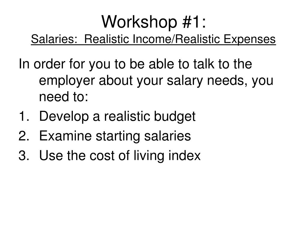 Workshop #1: