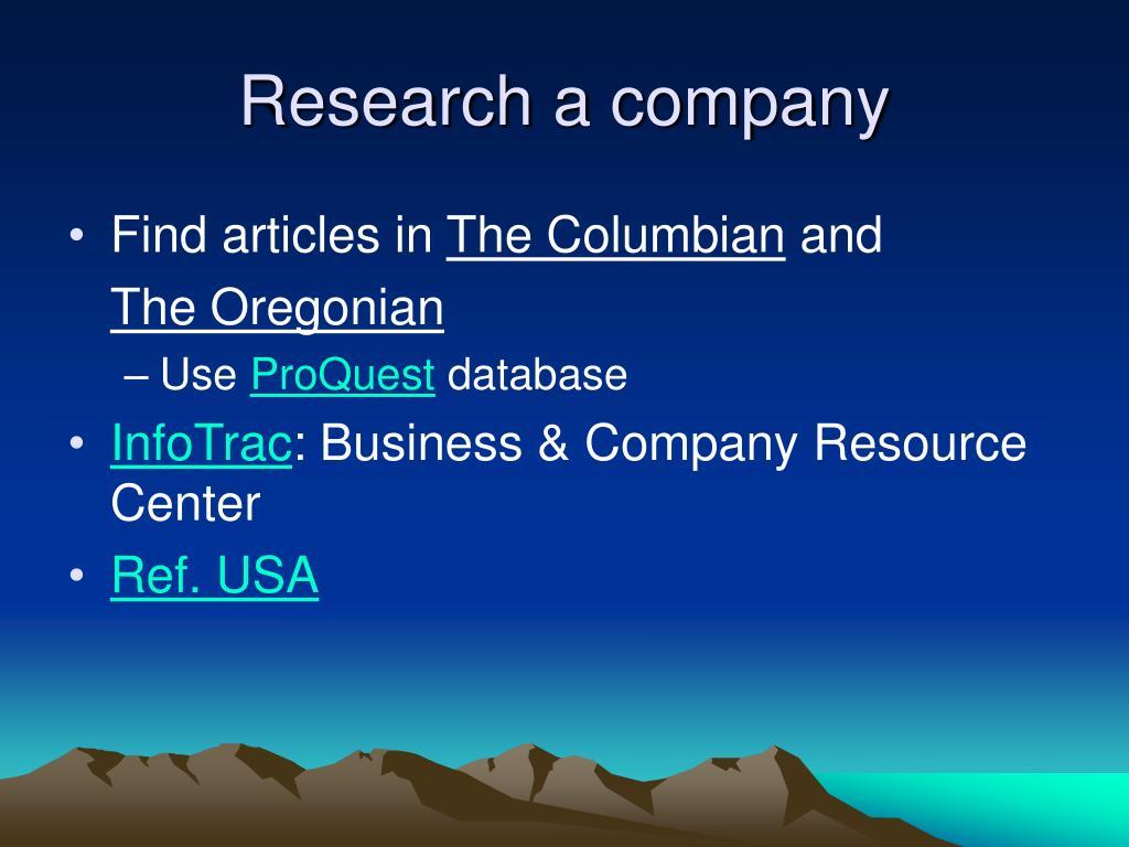 Research a company