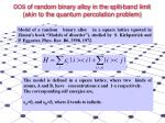 dos of random binary alloy in the split band limit akin to the quantum percolation problem