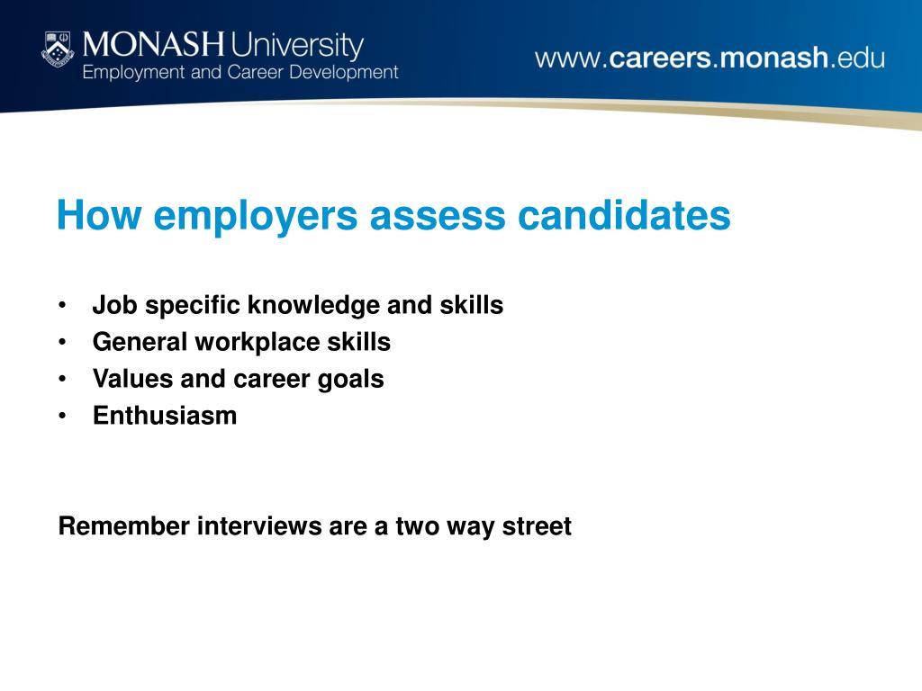 How employers assess candidates