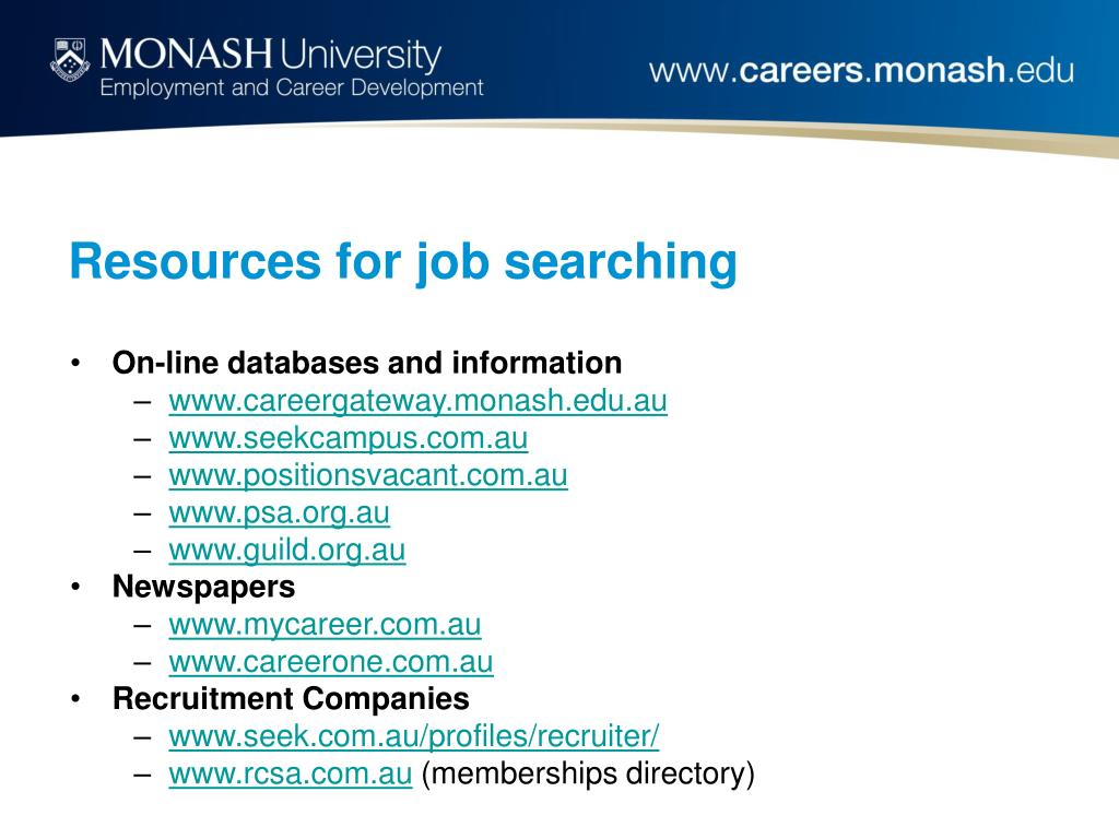 Resources for job searching