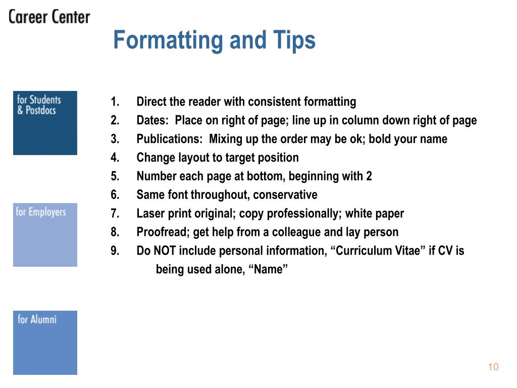 Formatting and Tips