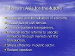 policies in asia for the future