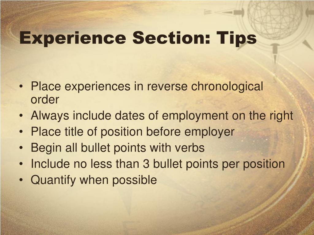 Experience Section: Tips
