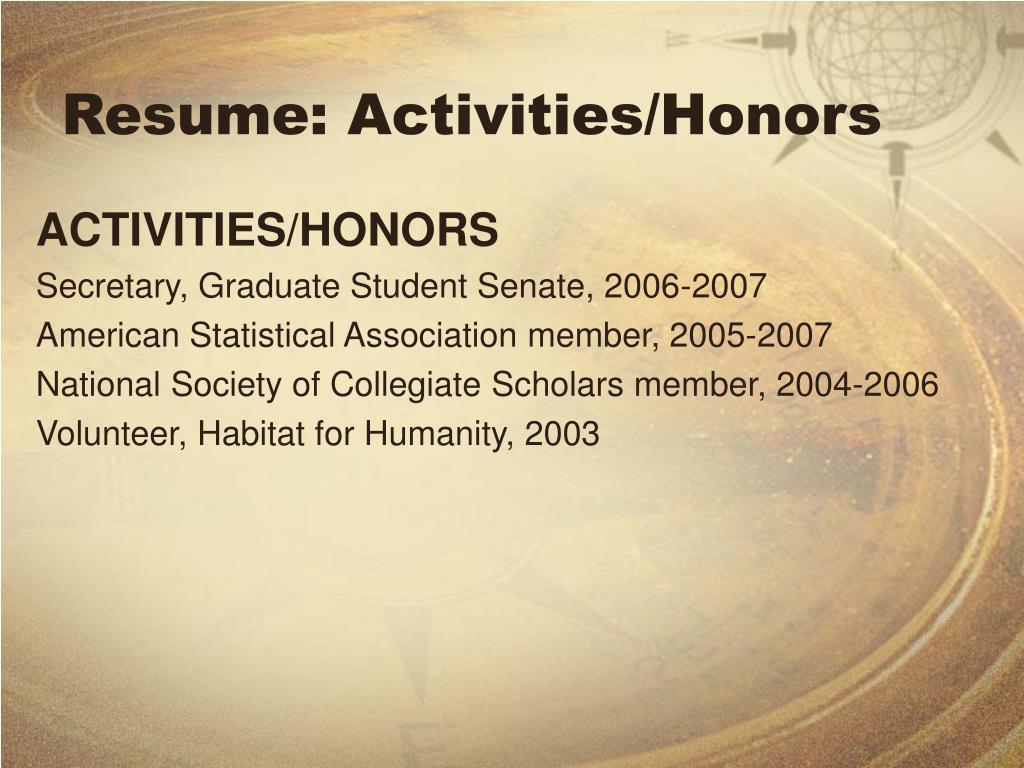 Resume: Activities/Honors