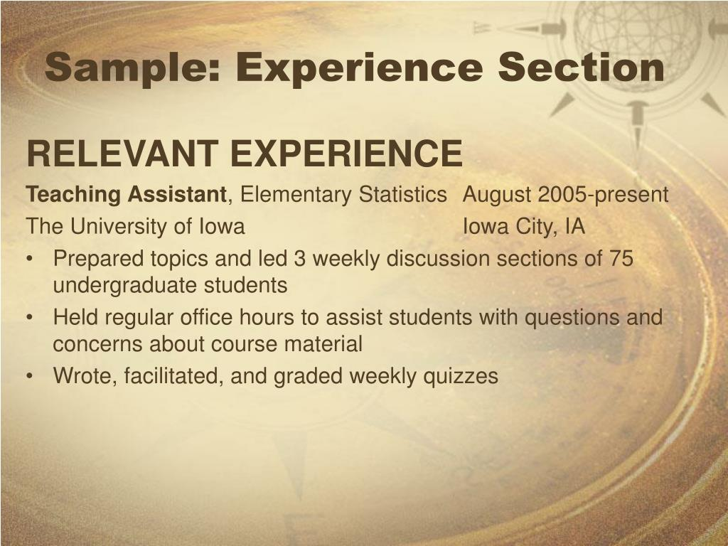 Sample: Experience Section