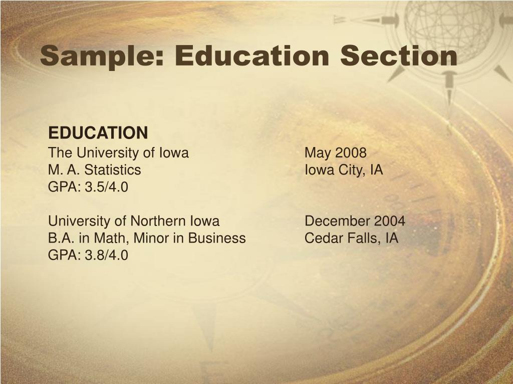 Sample: Education Section