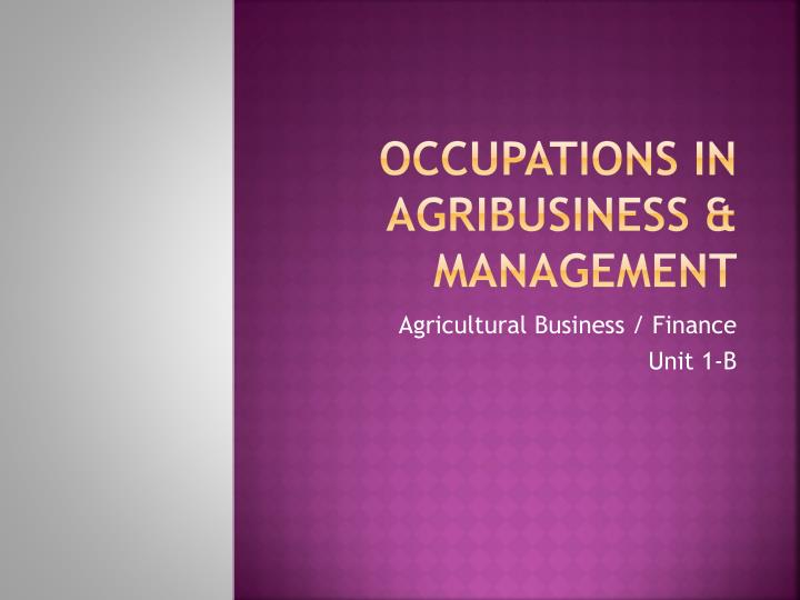 occupations in agribusiness management n.