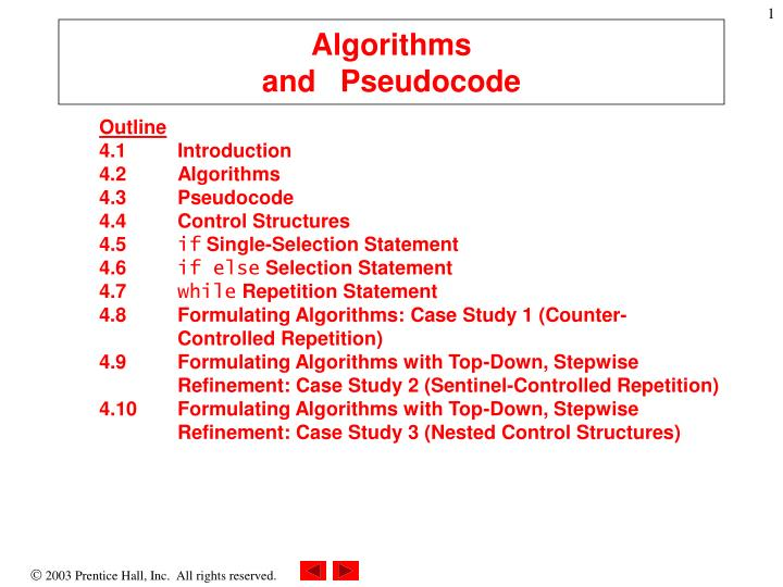 algorithms and pseudocode n.