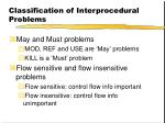classification of interprocedural problems