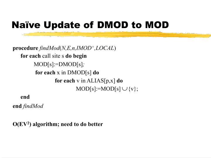 Naïve Update of DMOD to MOD