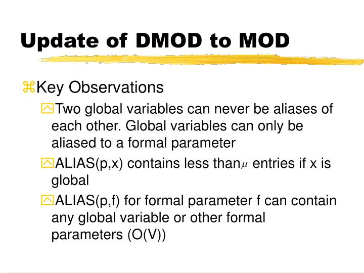 Update of DMOD to MOD