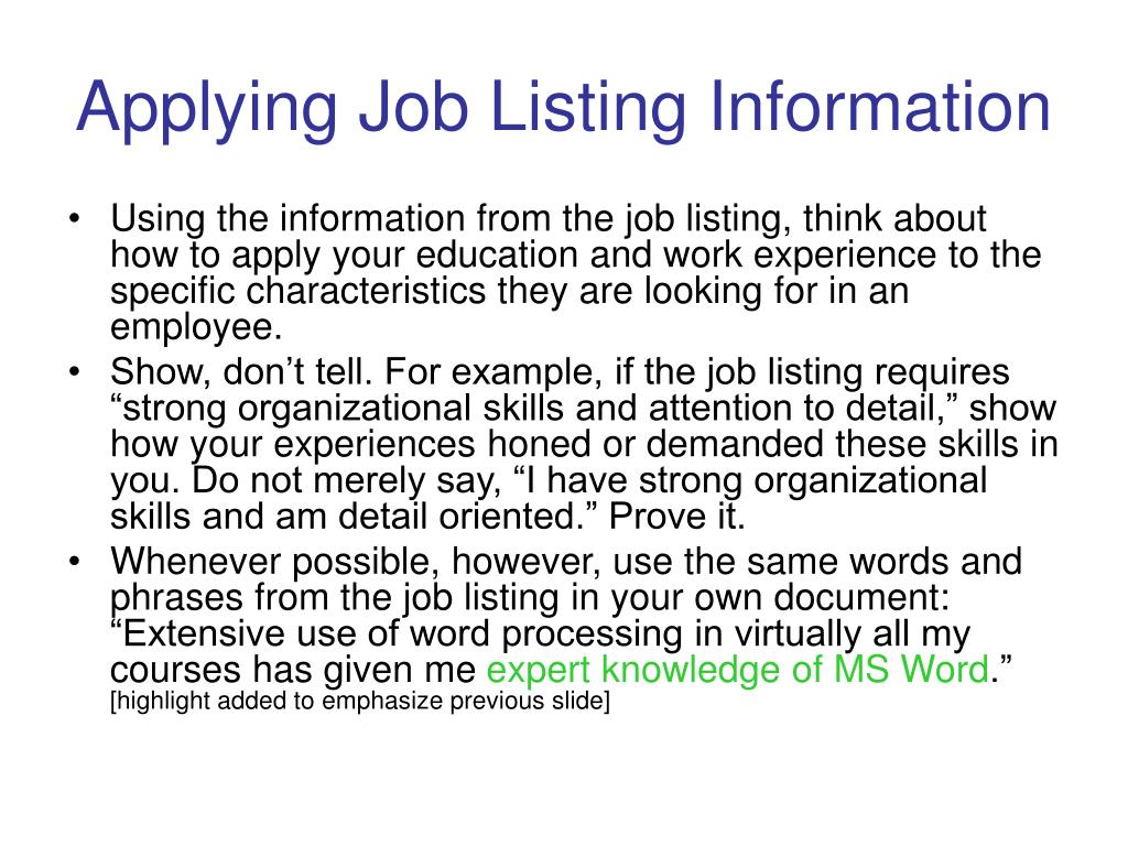 Applying Job Listing Information