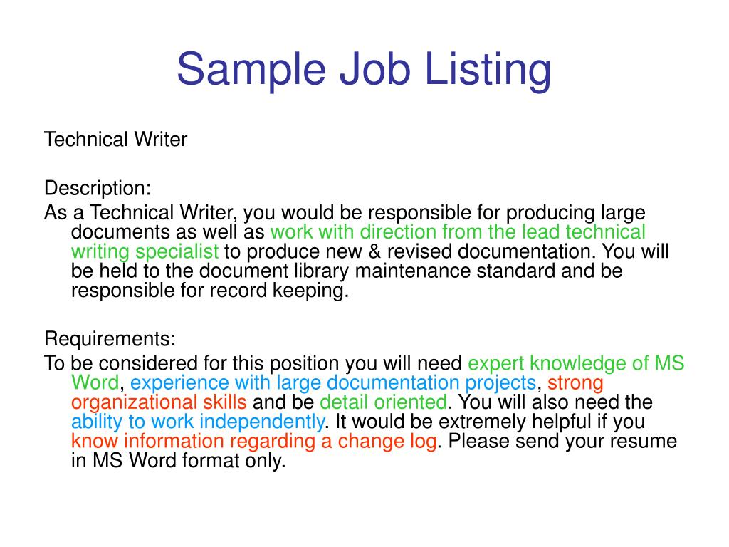 Sample Job Listing