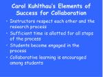 carol kuhlthau s elements of success for collaboration