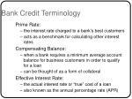 bank credit terminology