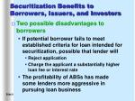 securitization benefits to borrowers issuers and investors1