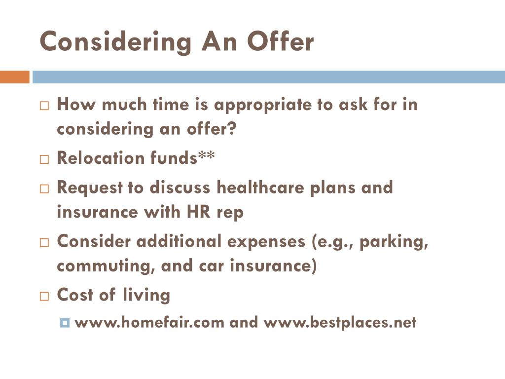 Considering An Offer