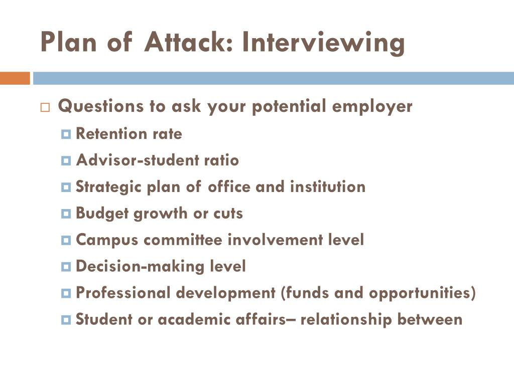 Plan of Attack: Interviewing
