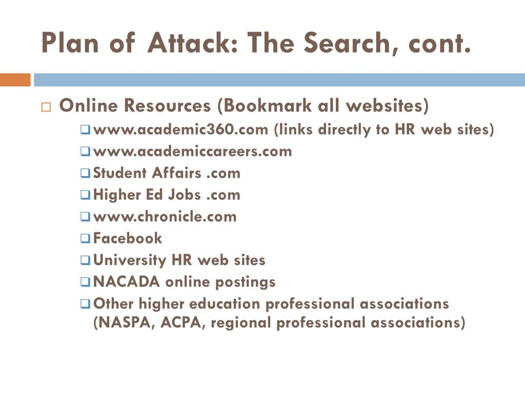 Plan of Attack: The Search, cont.