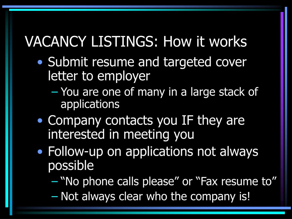 VACANCY LISTINGS: How it works