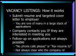 vacancy listings how it works