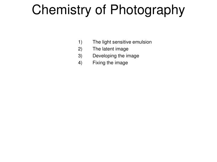 chemistry of photography n.