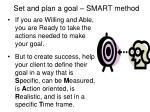 set and plan a goal smart method